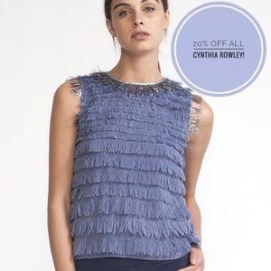 Cynthia Rowley Silk Fringe Tank
